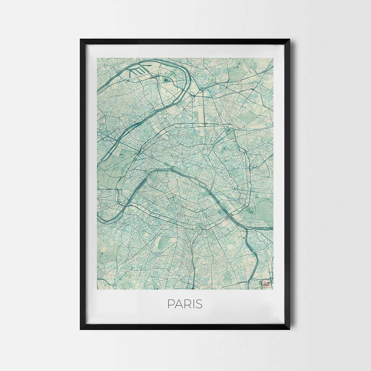 Pariisin Kartta Juliste Juliste Kartta Pariisi Ile De France