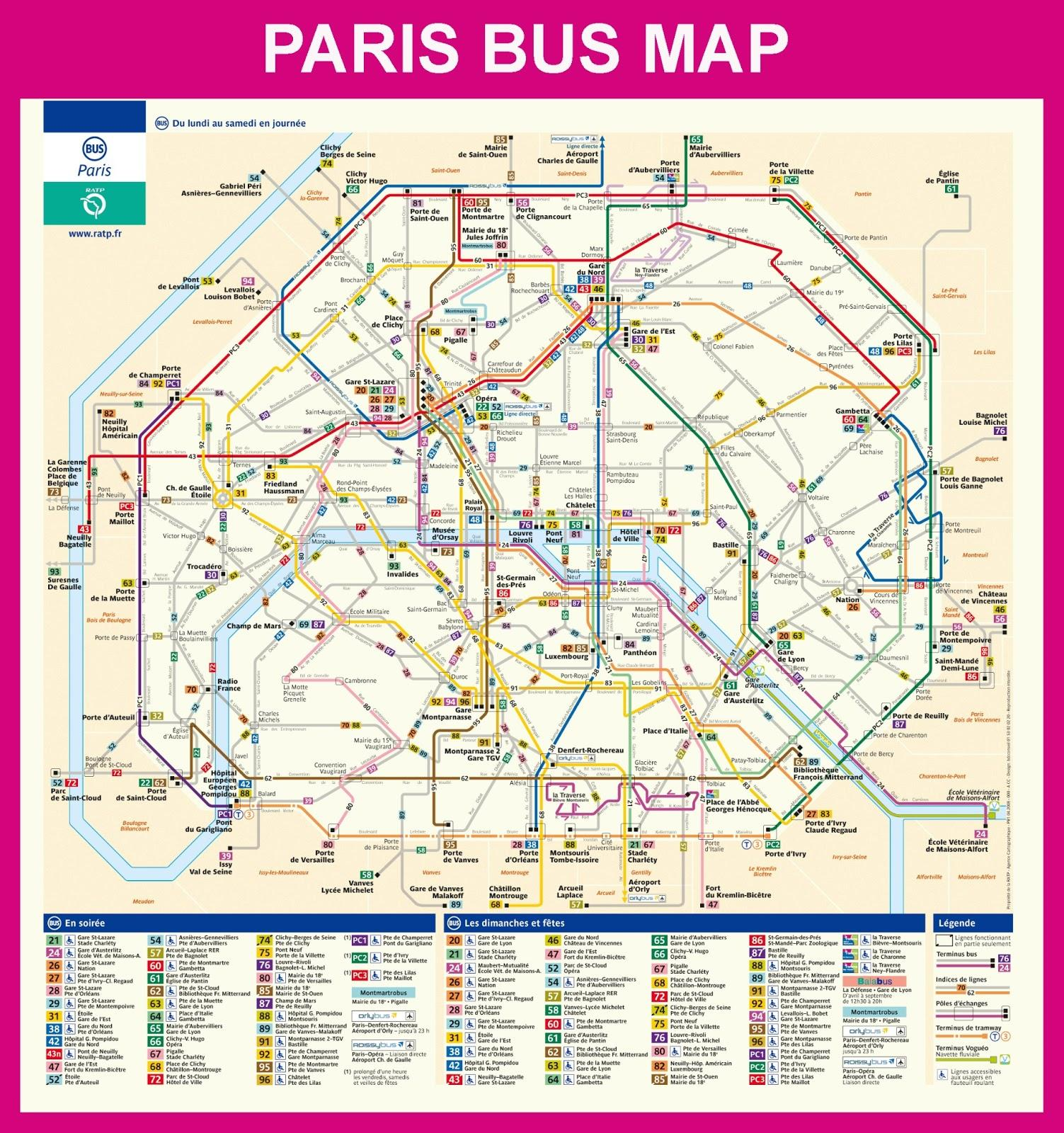 Pariisin Metro Bussi Kartta Pariisi Ranska Bussi Kartta Ile De